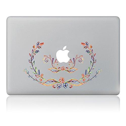 caroki Blossom Abnehmbare Vinyl Aufkleber Aufkleber Skin für Apple MacBook Simple Flower Frame 33 cm (13 Zoll)