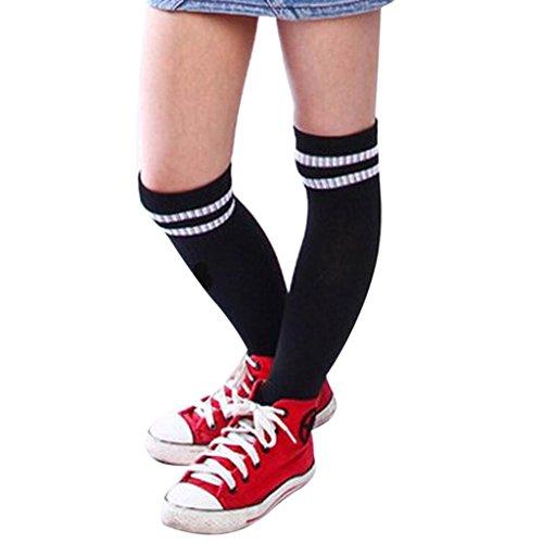 Jungen 1-7 Jahre alt Sportsocken Transer® Knie-Lange Baumwolle Draussen Fußball Basketball Baseball-Socken Strümpfe Größe: 15+32 cm (Schwarz) (Kinder-basketball-socken)
