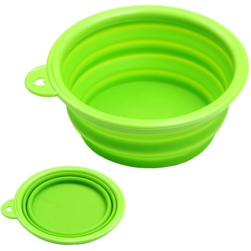 Estone Dog Cat Pet Portable Silicone Collapsible Travel Feeding Bowl Water Dish Feeder (Green) by Estone