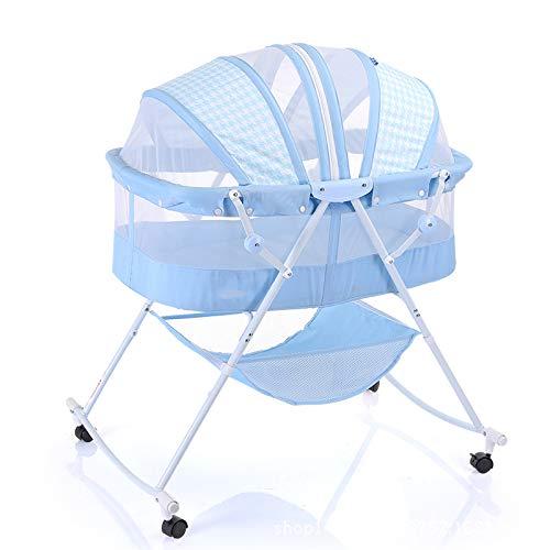 YXLONG Kinderbett Tragbar Neugeborene Wiege Tragbares Wiege Bett,1 Knopf-Shaker,Hautfreundliches, Atmungsaktives Gewebe,67 * 15.5 * 54CM,Blue+Pillow+Mat - Eisen-baby-wiege