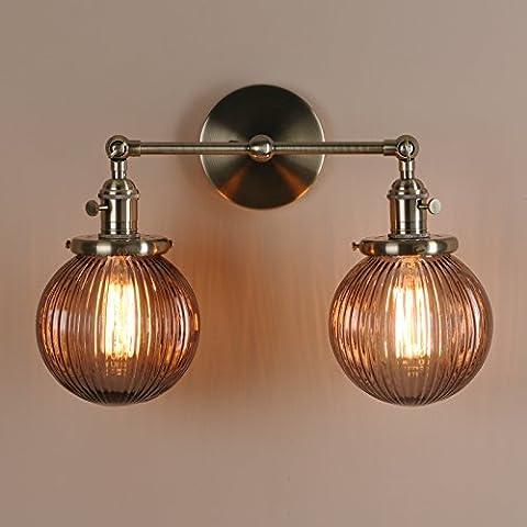 Pathson Antik Deko Design 2-Gestreifte Kleine Kugel Grau Glas innen Wandbeleuchtung Wandleuchten Loft-Wandlampen Wandbeleuchtung (Bronze