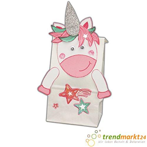 trendmarkt24 6 Einhorn Bastel-Packungen Tüten-Set Party Kinder-Geburtstag Mädchen Pferde / Pferd Bastelset Kinderparty Einhornparty Geschenk-tüten Papier Mitbringsel / Mitgebsel 88101
