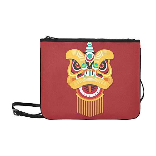 EIJODNL Chinesischer Löwenkopf Tanzmuster Benutzerdefinierte hochwertige Nylon dünne Clutch Cross Body Bag - China Kultur Kostüm