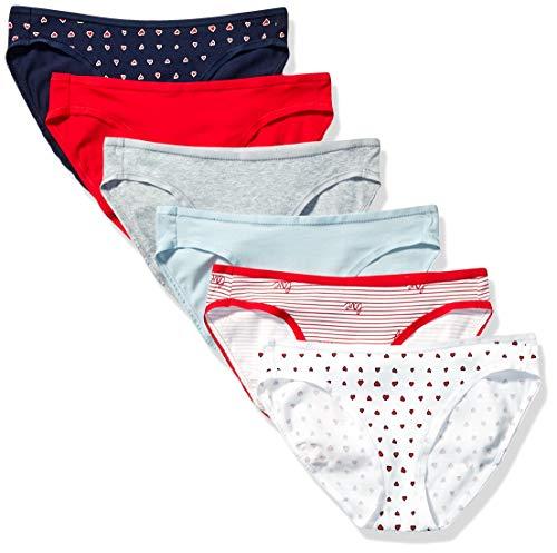 Amazon Essentials 6-Pack Cotton Bikini Underwear Style, Valentines, M