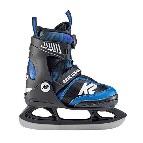 K2 Skates Jungen Rink Raven Ice BOA Skates, Schwarz-Blau, 35-40 EU -