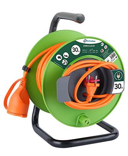 Electraline 20866138FG Rallonge Prolongateur Jardín 30 m avec enrouleur 16A - Section 2x1,5 mm² Orange/Vert