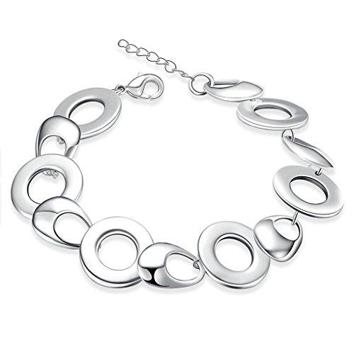 Plaqué Argent Bracelet, Bracelet Charms Des Femmes Argent Cercle Connecté Epinki