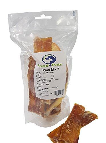 Food4Pets Rind - Mix 2 Hundeleckerli - Bestehend aus Rinderohr, Rinderstrossen und Nackensehne