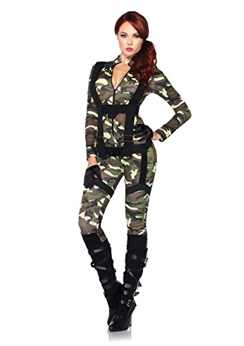 Leg Avenue 85166 - 2Tl. Kostüm Set Hübsche Fallschirmspringer, Größe S, grün, Damen Karneval Kostüm (Swat Jumpsuit)