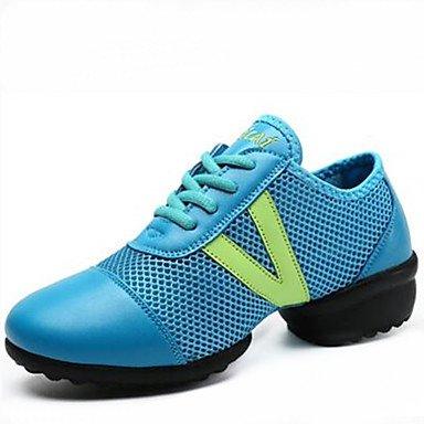 Scarpe da ballo delle donne Sintetico Danza Sneakers / scarpe da ginnastica moderne tacco basso Outdoor nero / bianco / blu, bianco, US8 White