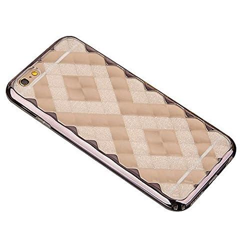 Cuitan 2 in 1 3D Eis Diamond Hülle Schutzhülle für Apple iPhone 6 / 6s (4,7 Zoll), TPU Weich Innen Hülle und PC Harte Rahmen Bumper Transparent Durchsichtig Rück Abdeckung Back Cover Case Handytasche Rückseite Tasche Handyhülle für iPhone 6 / 6s (4,7 Zoll) - Grau (Nicht enthalten Handy)
