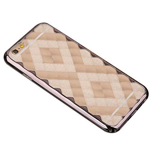 Cuitan 2 in 1 3D Eis Diamond Hülle Schutzhülle für Apple iPhone 6 / 6s (4,7 Zoll), TPU Weich Innen Hülle und PC Harte Rahmen Bumper Transparent Durchsichtig Rück Abdeckung Back Cover Case Handytasche  Grau
