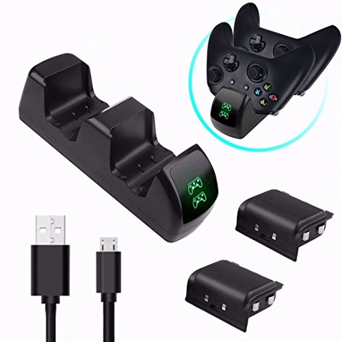 Fast Dual Twin Docking Station für Xbox One Elite Controller - Ozvavzk Dual Ladegerät Base für Xbox one/Xbox One S/Xbox One X mit 1200mAh Ni-mh Batterien Akku Pack