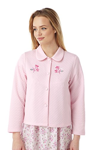 Ladies Lightweight Quilted Button Bed Jacket With Embroidery by Marlon MA08772 Pink 20-22 - Womens Quilted Button