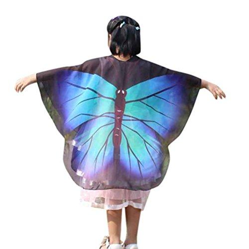 0cm Schmetterlings Flügel Schal Shobdw Kinder Jungen Mädchen Pixie Halloween Cosplay Fasching Kostüm Zusatz (140*100cm, Blau) (Göttin Halloween-kostüm Für Kinder)