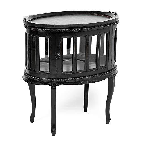 LEBENSwohnART Teeschrank Barschrank CORUNA Mahagoni Antique Black Beistelltisch Vintage Shabby - Mahagoni Schrank