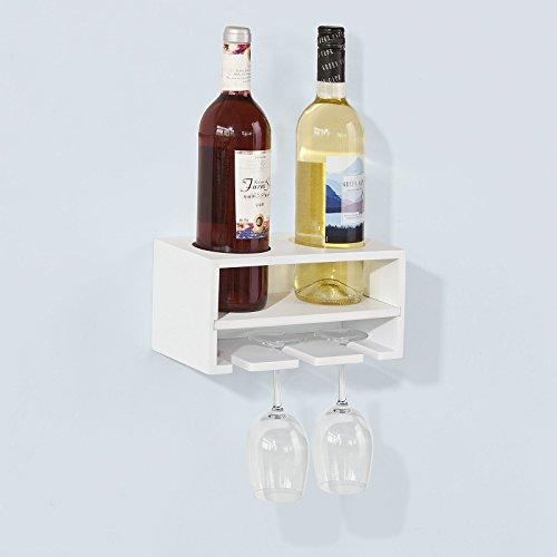 SoBuy Weinflaschenhalter, Wandregal mit Weinflaschenablage und Weinglashalter, Hängeregal,...
