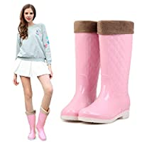 Wellington Boots ,Fashion Rain Boots Korean Summer High Rain Shoes Jelly Shoes Warm Plus Velvet Detachable Water Shoes Non-Slip New Rubber Shoes Pink Minimalist Smooth Pvc Women Wellington Boots