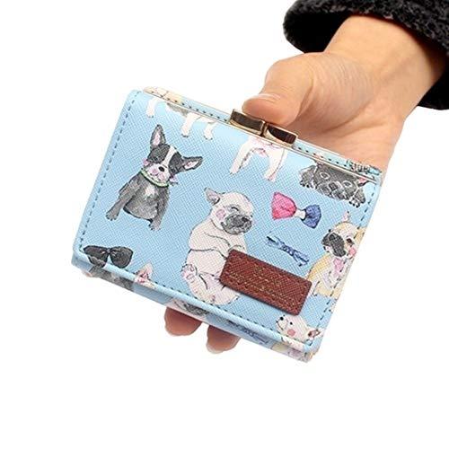 LOVEYOUYUE Brieftasche für Frauen Womens Short Wallets niedlichen Cartoon Print Geldbörsen Clutch Card ID Inhaber Multifunktions Münztüten (Color : Sky Blue, Größe : M) (Schmuck-geschenk-card-inhaber)