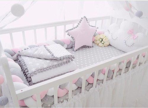 Kinderbett Knotenkissen Bettumrandung Stoßstange Baby Nestchen Weben Bettumrandung Kantenschutz Kopfschutz 1,5m/2m (2m, Pink-Weiß-Grau) - 6