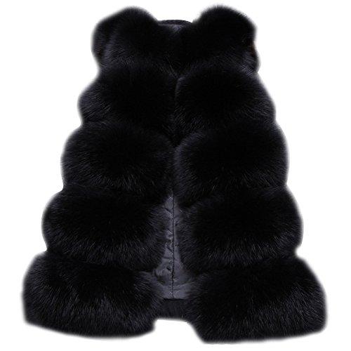 Damen Warm Jacke Weste Faux Pelz Lang Felljacke Oberteile Parka Outerwear Schwarz S Fell Weste Jacke Mantel