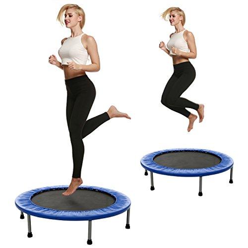 Shaofu mini trampolino, lettino pieghevole per fitness fun trampolino rotondo 3696,5cm con cornice imbottita cover, blue, 40inch - foldable once