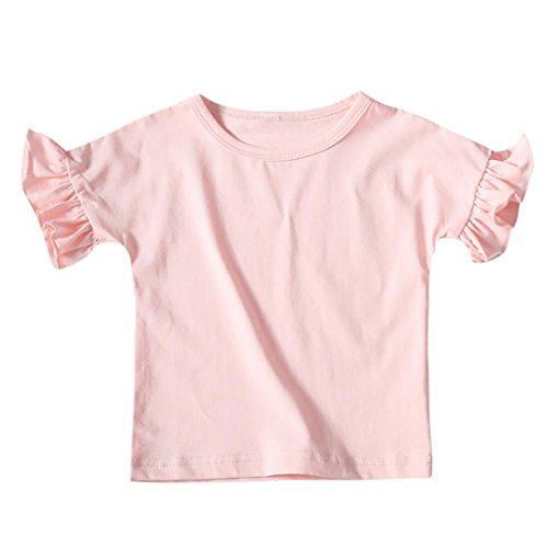 Webla Toddler Baby Girls Kids Solid Ruffles Short Sleeve T-Shirts Tops Ages 1-7 Years