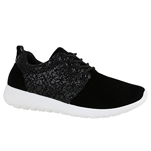 Damen Sportschuhe | Übergrößen | Trendfarben Runners | Sneakers Laufschuhe | Fitness Prints Schwarz Schwar Muster