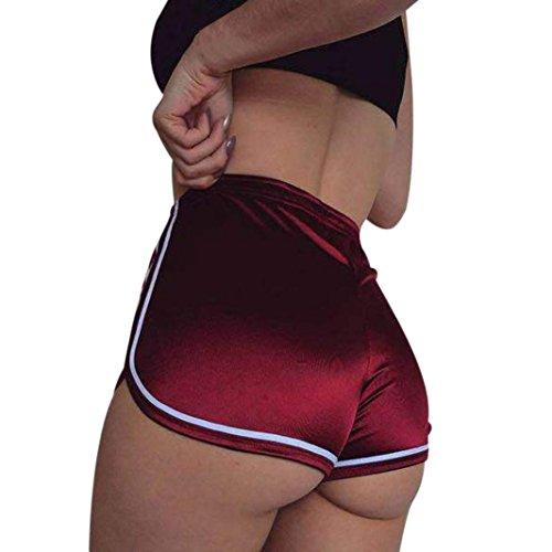 Hosen Damen Kolylong® Frauen Elegant Hohe Taille Hosen Kurz Freizeit Sport Yoga Hosen Mini Sommer Lässige Strandhose Casual Shorts Einfarbig Hot Pants (S, Rot) (Short Hot Hohe Taille)