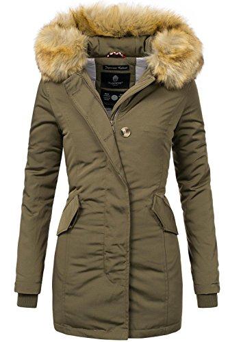 Marikoo Damen Winter Mantel Winterparka Karmaa XS-XXXXXL (vegan hergestellt) Grün Gr. ()