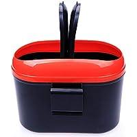 OurLeeme portátil ABS Cap doble grande Capacidad de basura automático de basura puede perder de contenedores de basura de coches Bin Rojo