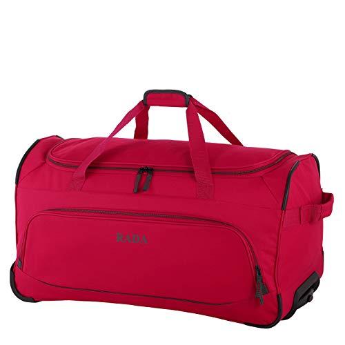 Rada Reisetasche mit Rollen für Damen und Herren, große Sporttasche mit Trolleyfunktion, für Jungen und Mädchen (rot grau)