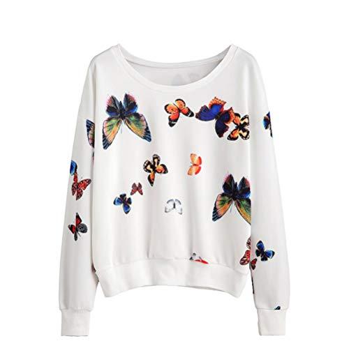 SUNNSEAN Frauen Mädchen Hoodie Sweatshirt Lässige Lose Schmetterling Drucken Damen Langarm mit Kapuze Stilvolle Crop Bluse Elegante Pullover Tops