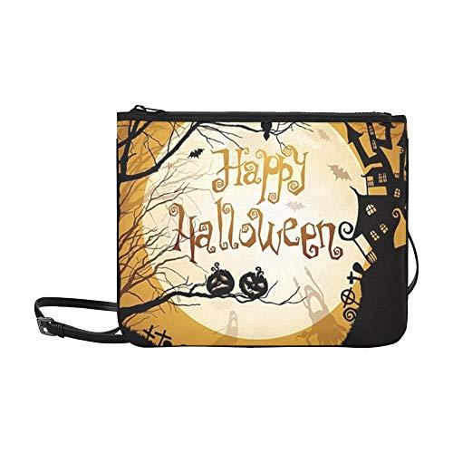 WYYWCY Schwarze Halloween-Silhouetten auf dem Mond Benutzerdefinierte hochwertige Nylon Slim Clutch Cross Body Bag Schultertasche