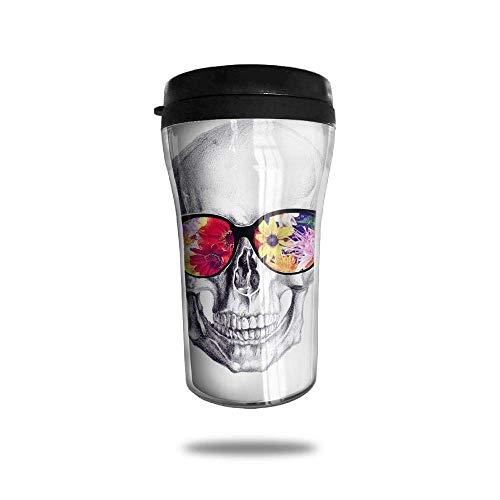 Beach Sunglasses Flower Skulls Ice Coffee Small Kaffeetasse Carrying Hand Cup Travel Mug Kaffeetasse 8.5 Oz