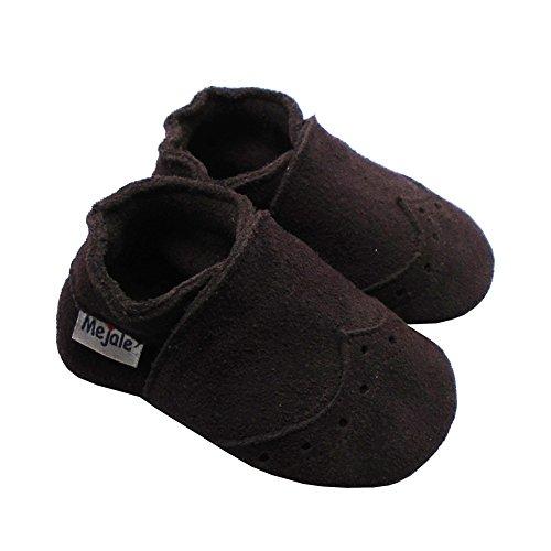 Mejale Weiche Sohle Leder Babyschuhe Lauflernschuhe Krabbelschuhe Kleinkind Kinderschuhe Hausschuhe Dunkelbraun