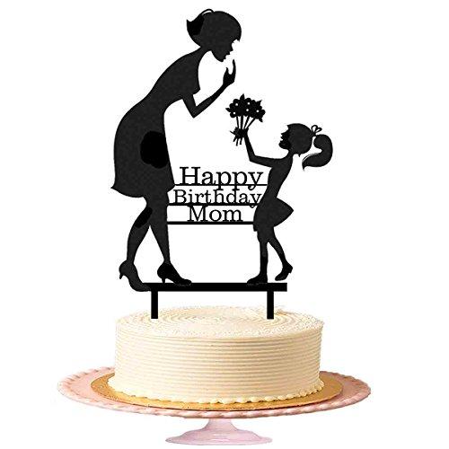 Birthday Cake Topper für Mama, Gilrs möchte Mom Acryl Kuchen Topper in Schwarz glänzend (Happy Birthday Iron Man)