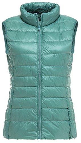 Sawadikaa Damen Gefüttert Ultra Leicht Verpackbar Kissen Puffer Daunen Jacke Weste Bodywarmer Grün Blau Medium