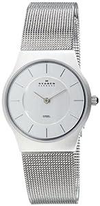 Reloj de mujer Skagen Slimline 233SSS de cuarzo, correa de acero inoxidable color plata de SKAGEN