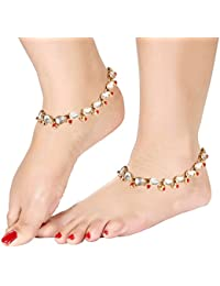 I Jewels Traditional Gold Plated Kundan Anklets Payal for Women A002R (Red)