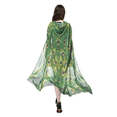 Schmetterlingsflügel Schal Wrap Kapuzenumhänge Cosplay Kostüm, Halloween Kostüme Kostüm for Erwachsene Frauen (Color : Green Peacock)