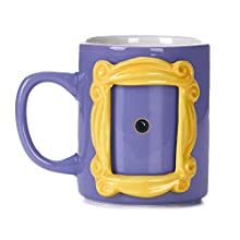 Paladone PP6548FR Friends Picture Frame Shaped Ceramic Mug with Monica's Yellow Peephole 330ml, 330 milliliters