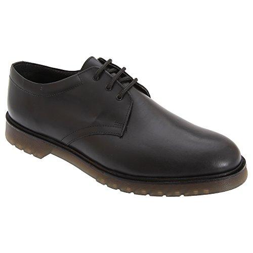 Grafters Herren Hochglanz Uniform Leder Schuhe Schwarz