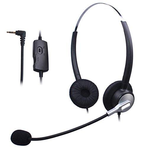 Wantek Dual Call Center Telefono Cuffia con 2,5mm Cuffia Jack + Microfono + Volume Mute Controllo per Cisco Linksys SPA SPA921 SPA922 SPA941 303 501G 502G 504G 508G 509G 525G IP Telefono(H120S01J25)