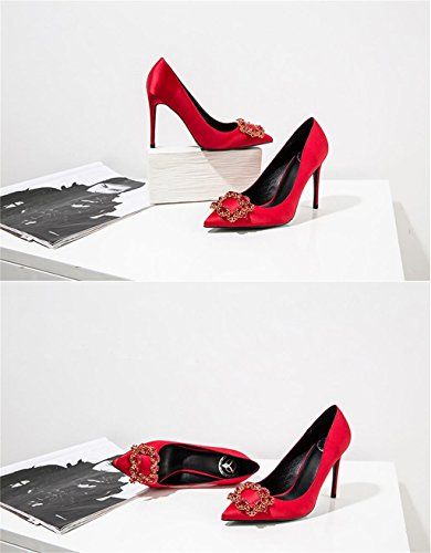 ALUK- Chaussures de mariée - fines avec chaussures pointues de bouche mince ( couleur : 8cm , taille : 37 ) 8cm