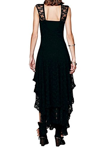 Arrowhunt Damen Sexy Lange Ärmellos Unregelmäßige Spitze kleider ( Kein Futter ) Schwarz