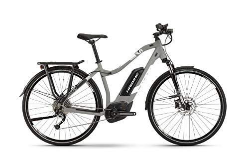 HAIBIKE Sduro Trekking 3.0 Pedelec Bicicleta eléctrica para Mujer, Color Gris y Blanco, Talla XL