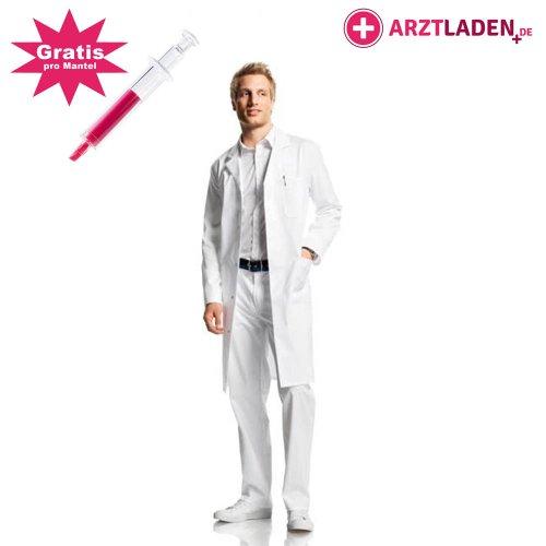 Labormantel für Männer und Frauen, 100% BW, knielang, weiß, 1 Brusttasche, 2 Seitentaschen, Gr. L