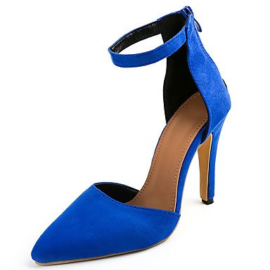 LvYuan Da donna Sandali Felpato PU (Poliuretano) Primavera Estate Fibbia A stiletto Nero Verde militare Blu Rosa 10 - 12 cm Blue