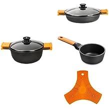 BRA Efficient Orange - Cacerola alta 24 cm + Cacerola baja 28 cm + Cazo 16 cm + BRA Safe - Salvamanteles de silicona multiusos imantado, 2 unidades, color naranja